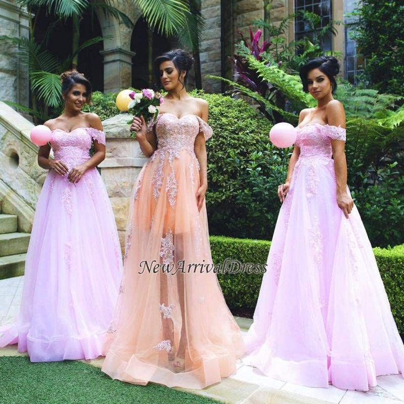 Appliques Gorgeous Lace Tulle Off-the-shoulder Prom Dress