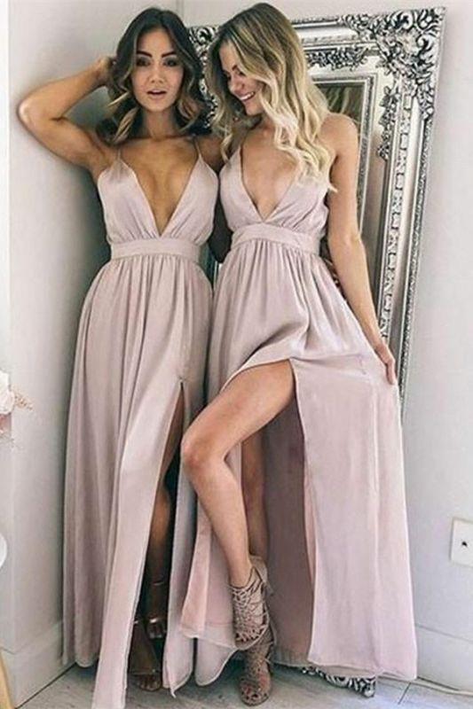 Sexy Simple V-Neck Formal Dresses | Side Split Floor Length Cheap Party Dresses