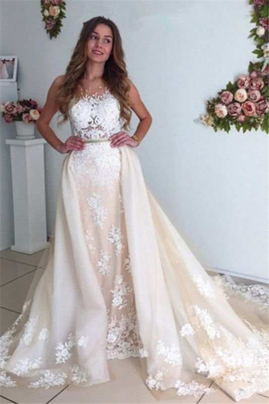 Gorgeous Mermaid Lace Detachable Cathedral Train Tulle Wedding Dresses Cheap Online
