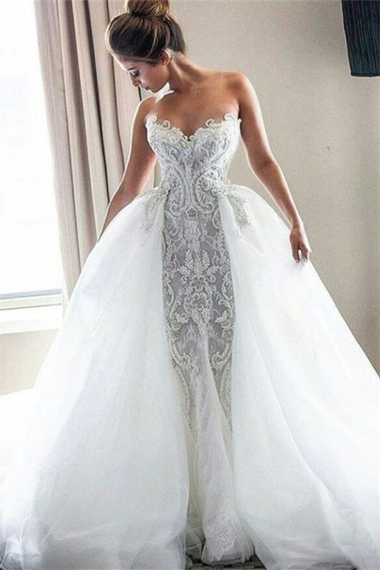 Strapless Sexy Lace Wedding Dresses Cheap | Puffy Tulle Overskirt Bride Dresses