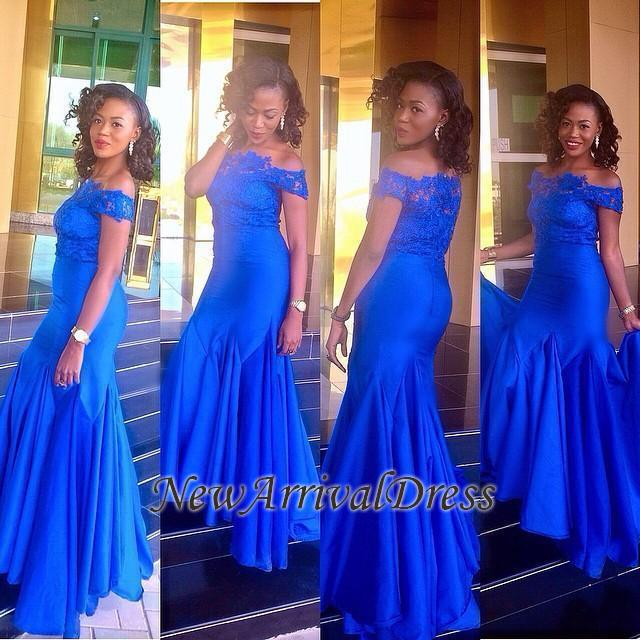 Royal-Blue Newest Off-the-Shoulder Lace Mermaid Prom Dress | Plus Size Prom  Dress