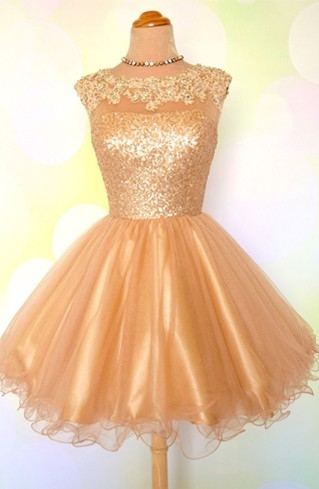 Gold Sequins Appliques Shiny Puffy Sexy Short Homecoming Dresses