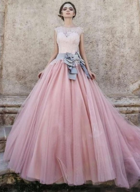 Lace Appliques Pink Ball Gown Wedding Dresses | Bowknot Cap Sleeve Bridal Gowns