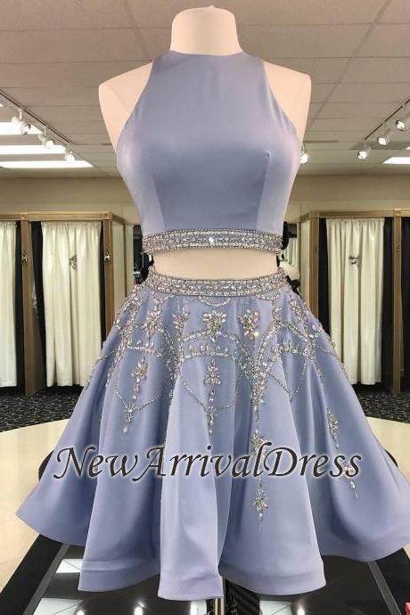 Gorgeous Custom Made A-line Crystal Sleeveless Two Piece Sexy Short Homecoming Dresses