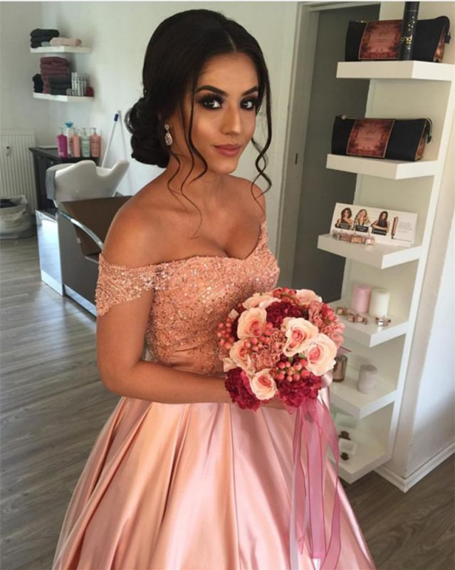 Modest Off-the-shoulder Beading Lace-Up A-line Prom Dress