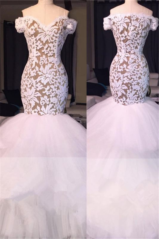 Off the Shoulder White Lace Long Prom Dresses Cheap | Tulle Mermaid Plus Size Formal Evening Gowns BA7796