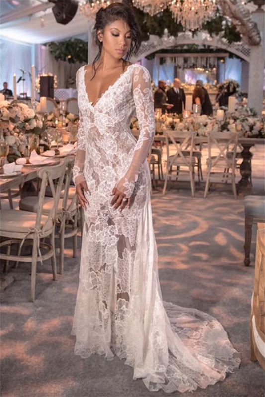 Long Sleeve V-neck Lace Wedding Dresses Cheap | Open Back See Through 2021 Bridal Gown BC0249