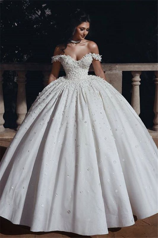 Off The Shoulder Beads Appliques Wedding Dresses 2019 | Princess Sexy Ball Gown Royal Wedding Dress Cheap