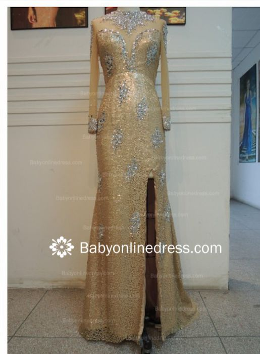 New Sexy Chiffon Beaded Crystals High Collar Long Sleeves Split Front Gold Sheath Long Evening Dresses
