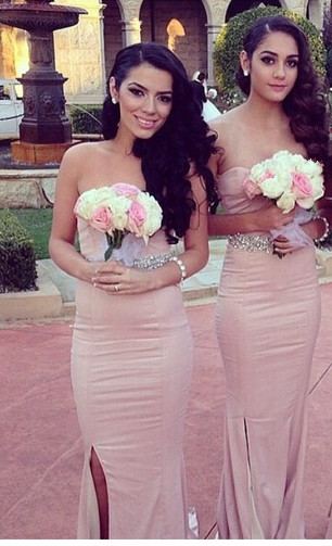 Simple Sheath Sweetheart Bridesmaid Dresses Side Slit Prom Dresses with Beadings