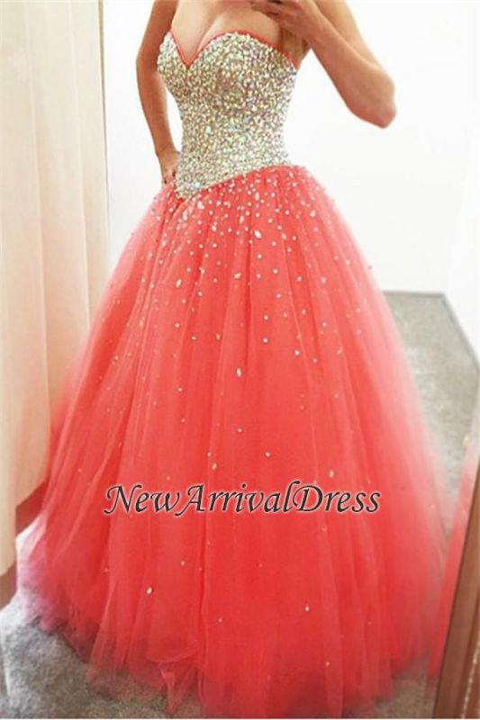 CrystalsCheap Puffy Sweetheart Tulle Sparkly Quinceanera Dresses