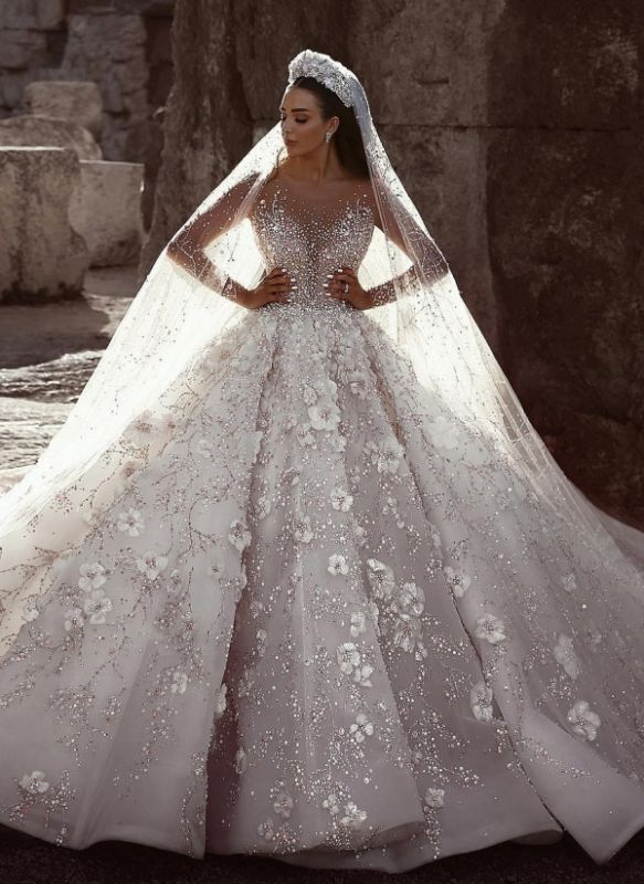Sexy Beaded Cheap Flowers Bridal Gowns | Sheer Neck Long Sleeve Ball Gown Wedding Dresses