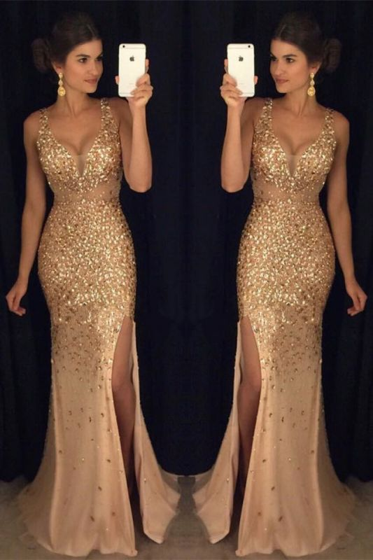 Crystals Gorgeous Mermaid Sleeveless Straps Front-Split Long Prom Dress