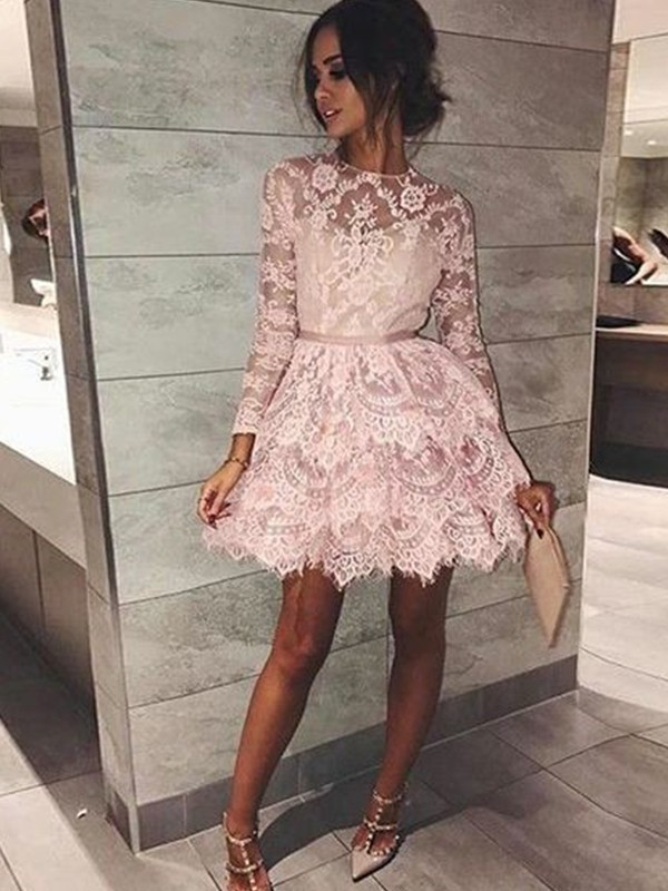 Chic Long Sleeves Homecoming Dresses  Scoop Pink Classic Cocktail Dresses