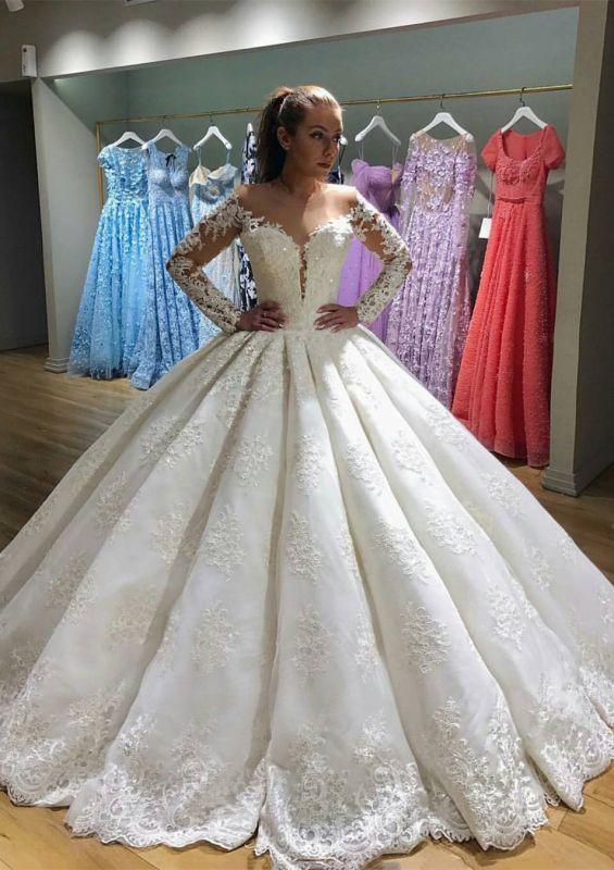 Latest Long Sleeve New Arrival Lace Elegant Wedding Dresses | Ball Gown Elegant Wedding Dresses