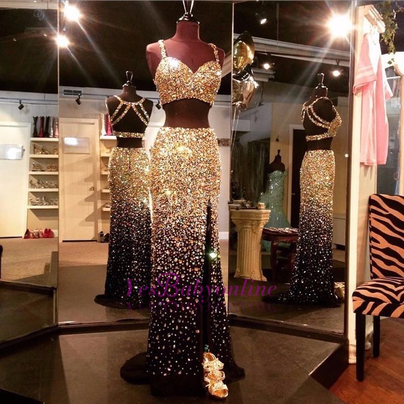 Luxury Two-Piece Prom Dresses Black Crystals Side Slit Sheath Evening Gowns