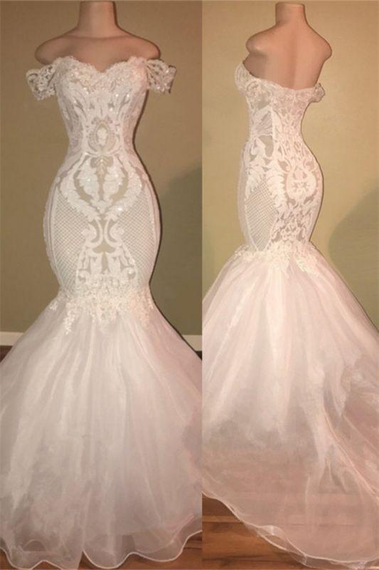 Off The Shoulder Long Prom Dresses Cheap | Open Back Lace Appliques Formal Dresses Online bc1326