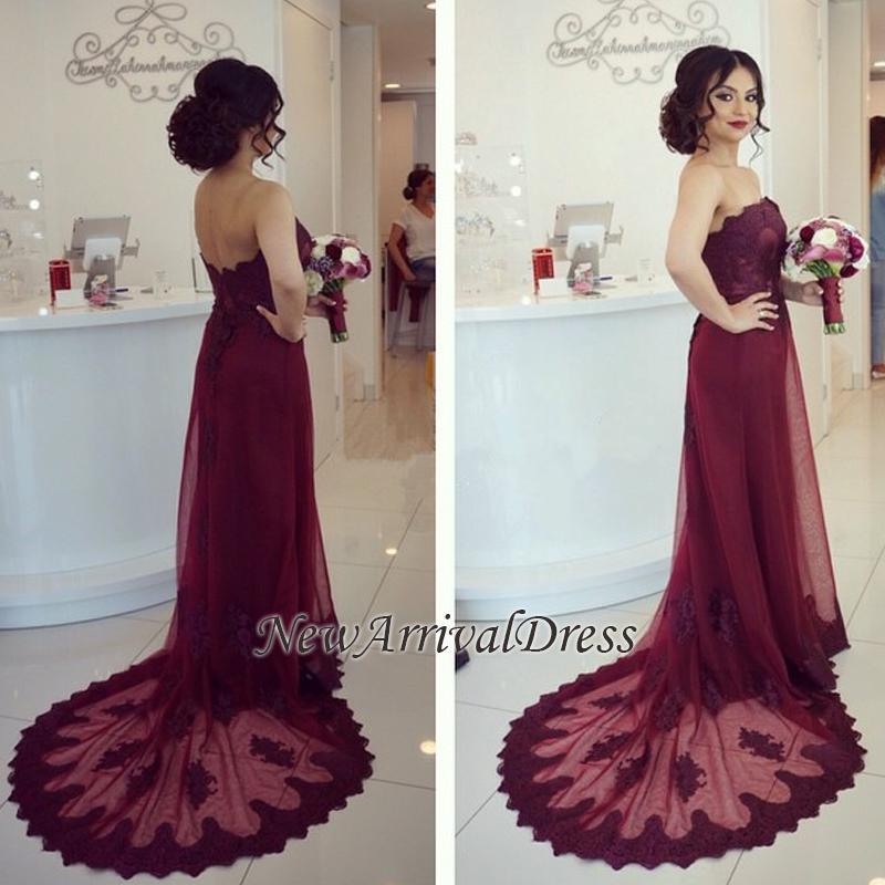 Elegant Lace Cheap Court-Train Burgundy Open-Back Strapless Appliques Prom Dress