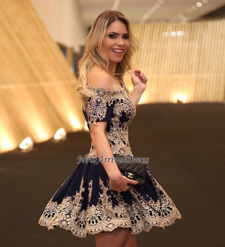 Off-The-Shoulder Latest Navy Short-Sleeves Lace Appliques Cheap Homecoming Dress