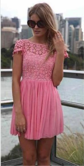 Pink Cocktail Dresses Lace Jewel Short Sleeves Mini Backless Chiffon Beautiful On Sale Short Prom Dresses BO2293