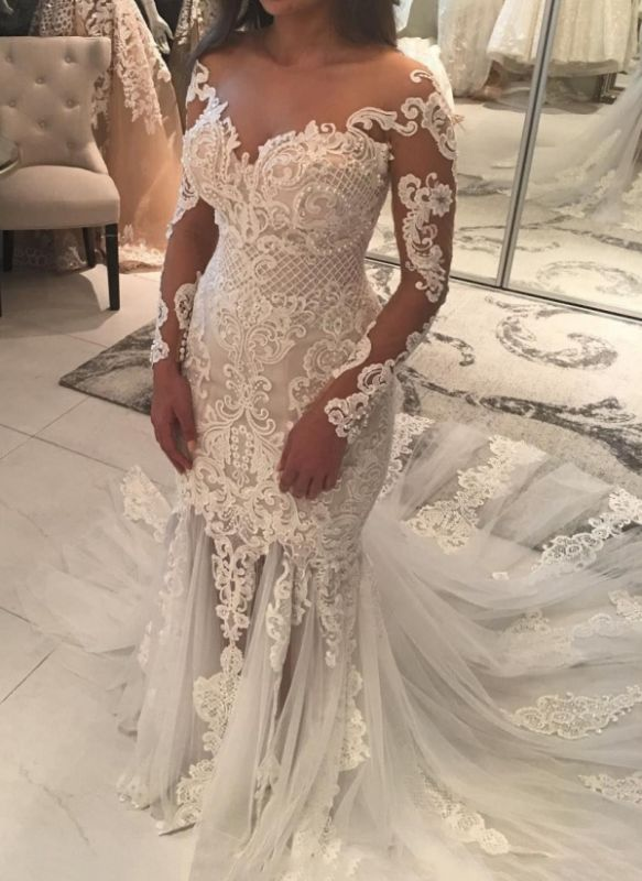 Elegant New Arrival Long Sleeve Mermaid Wedding Dresses | Long Train Online Cheap Bridal Gowns