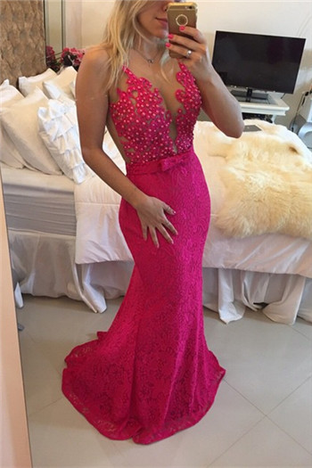 Sexy Lace Mermaid Prom DressesIllusion Sheer Tulle Sleeveless Evening Gowns BT00