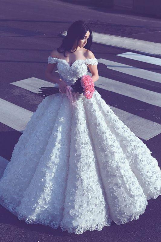 3D Spitze Appliques aus der Schulter Brautkleider | Prinzessin Ballkleid Sexy Brautkleid