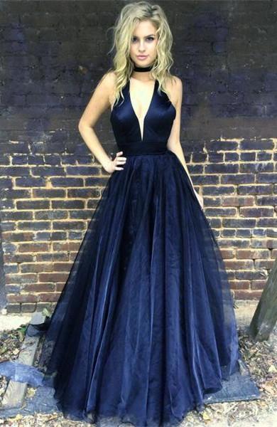 Black Newest A-line Floor-length V-neck Sleeveless Prom Dress