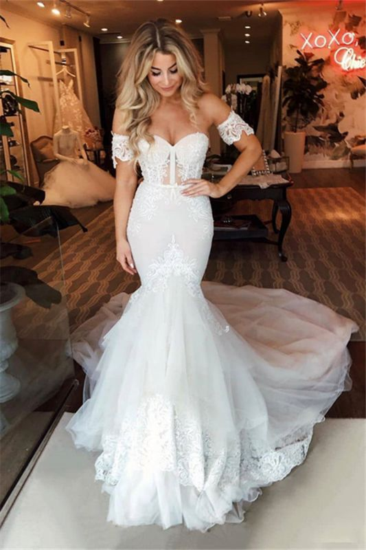 Off-the-shoulder Puffy Tulle Wedding Dresses | Appliques Mermaid Sweep Train Bridal Gowns