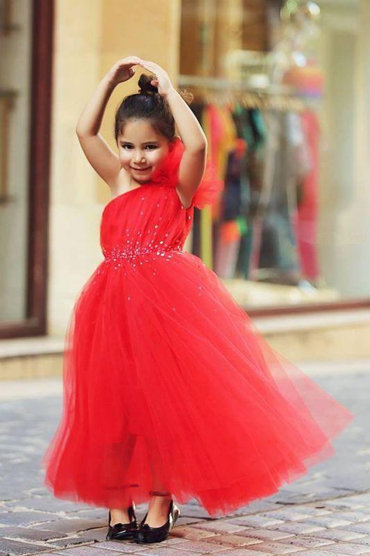 Cute Red One Shoulder Tulle Long Flower Girl Dress Cheap Crystal Floor Length Dresses for Girls