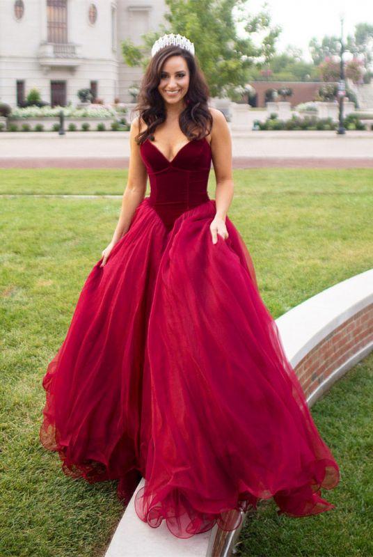 Newest Burgundy Sweetheart Sleeveless A-line Prom Dress