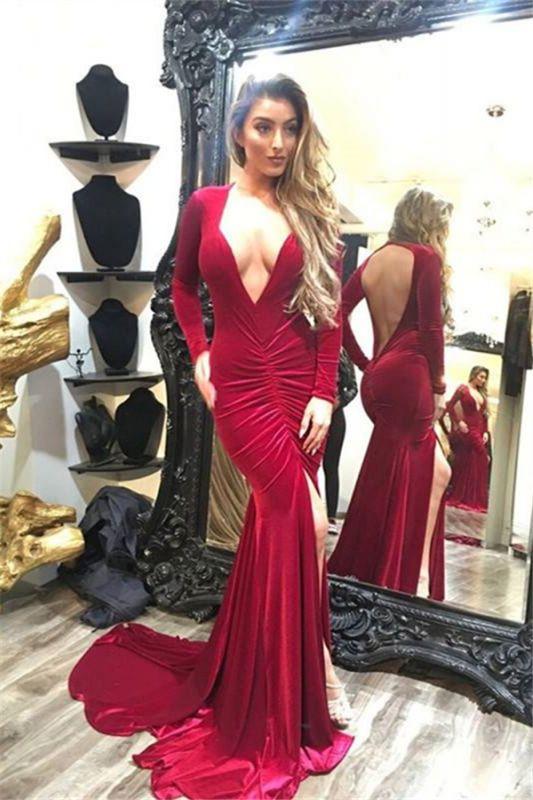 Sexy Deep V-neck Long Sleeves Backless Sweep-train Split Mermaid Prom Dresses