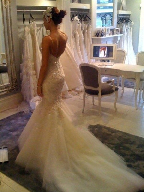 Sexy Spaghetti Straps Mermaid Wedding Dress Cheap Court Train Bridal Gowns with Buttons