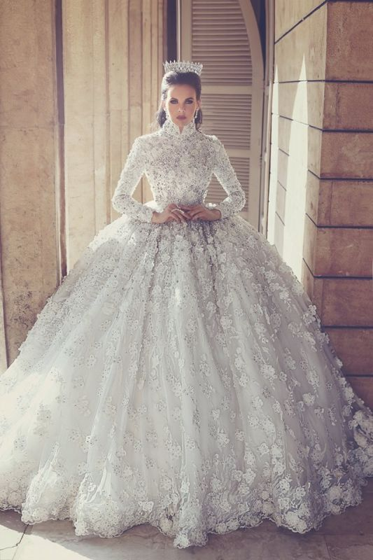 Retro High Neck Lace Wedding Dresses with Beads | Luxury Long Sleeve Ball Gown Bridal Gowns with Appliques