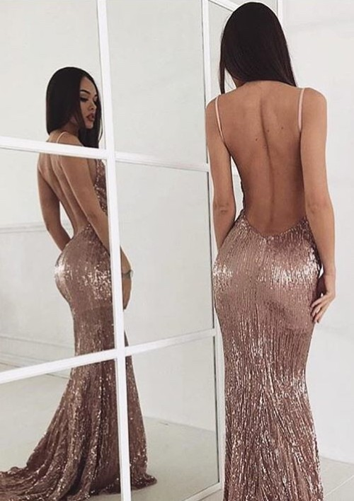 Beading Backless Sequin Sweep-train New-arrival Sexy Prom Dress