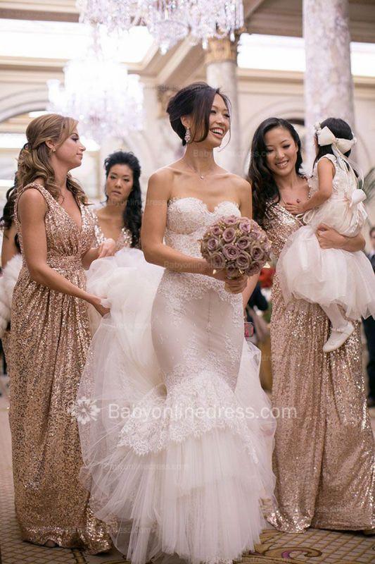 V-Neck Sequined Sheath Bridesmaids DressesRuffles Open Back Party Dresses