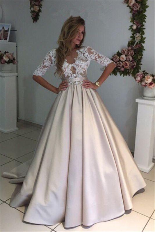 A-Line Half-Sleeves Illusion Lace Puff Custom Made Elegant Wedding Dresses Cheap