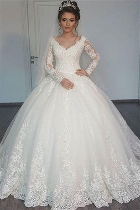 Long Sleeve Tulle V-Neck Elegant Vintage Lace Ball Gown Wedding Dresses Cheap Online