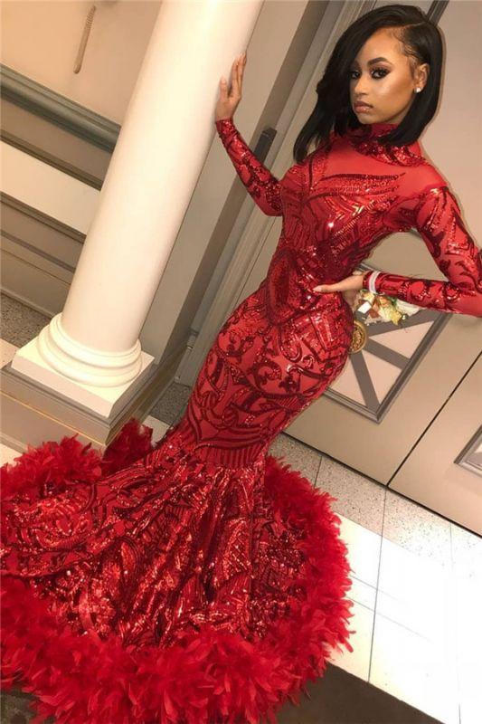 Robes de bal rouge sirène manches longues pas cher 2020 | Paillettes Appliques Robe De Soirée Plume BC1327