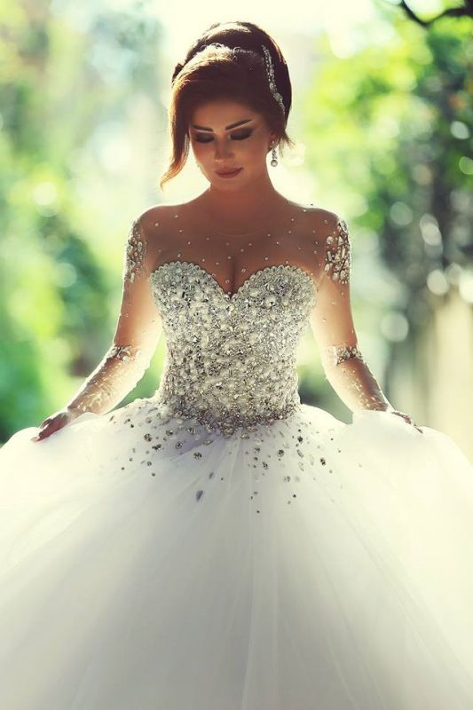 Sweetheart Crystalss Ball Gown Wedding Dress Cheap See Through Long Sleeve -up Princess Chapel Train Wedding Gowns