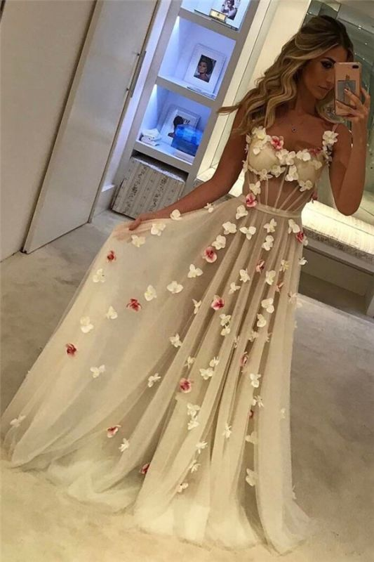 Open Back Flowers Long Prom Dresses Cheap | Spaghetti Straps Sexy Formal Evening Gowns