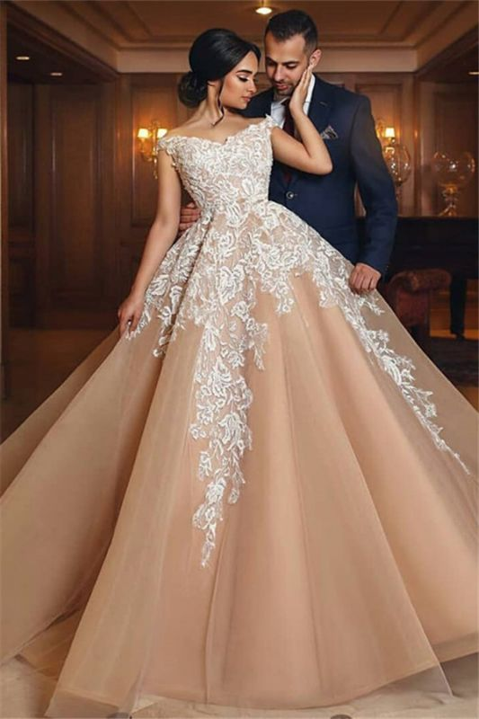 Off The Shoulder Lace Champagne Wedding Dresses | Puffy Tulle Elegant Bridal Gowns Cheap Online