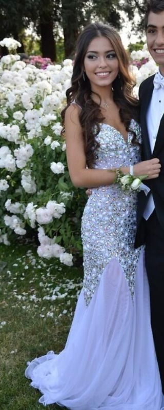 Luxury Crystals Chiffon Mermaid Prom Dresses Sweetheart Neck Open Back Long Pageant Dresses