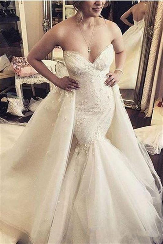 Ruffles Luxurious Strapless Sleeveless Mermaid Sexy Open Back Detachable Train Floral Wedding Dresses Cheap Online