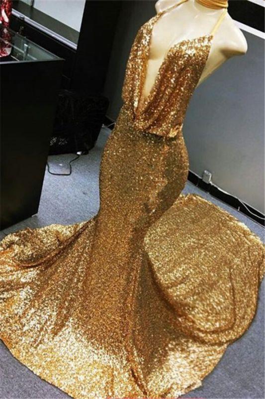 Robe de soirée sexy à col en V et à sequins dorés 2020 | Robe De Bal Pas Cher Sirène Dos Nu Sur Mannequins BC1258