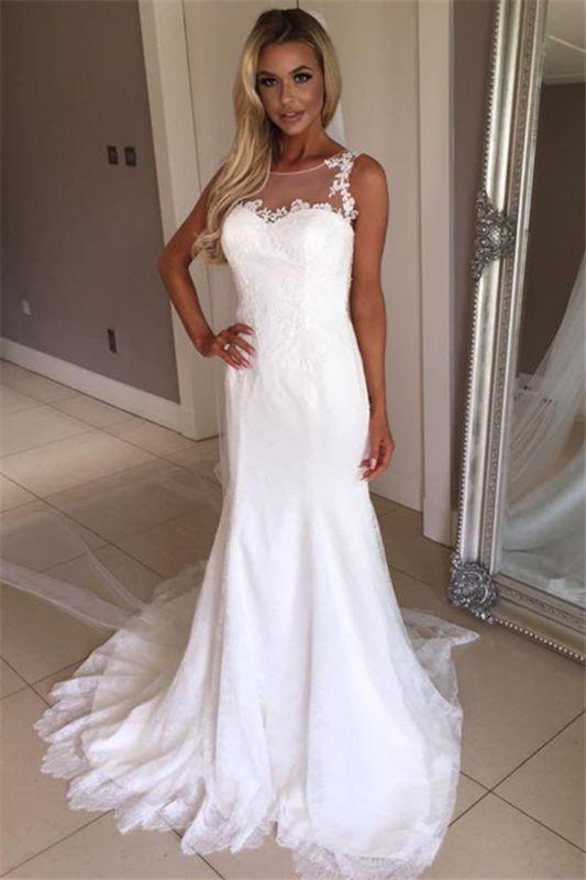 Elegant Mermaid Sleeveless Wedding Gowns | Lace Appliques Bridal Dresses