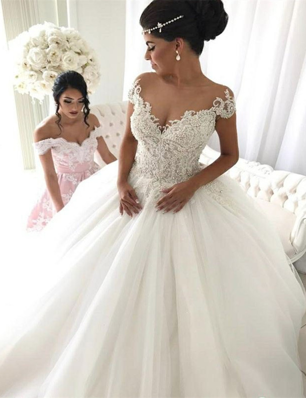Popular Ball Gown New Arrival Lace Off The Shoulder Elegant Wedding Dresses | Ivory Bridal Gowns