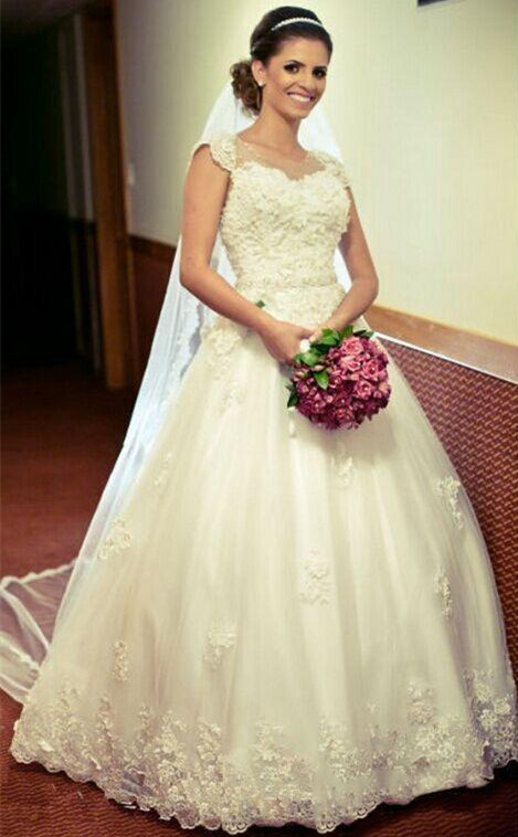 Jewel New Arrival Lace Gown Crystal-Belt Ball Appliques Tulle Cap Sleeve Princess Elegant Wedding Dresses