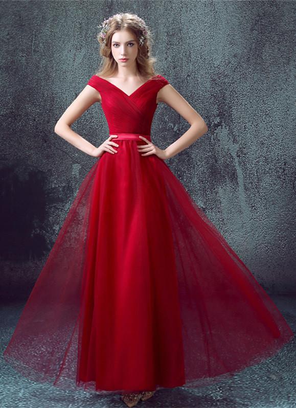 Newest Red Off-the-shoulder A-line Prom DressLace-up Floor-length
