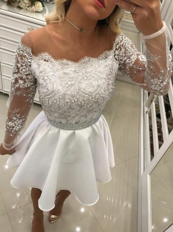 Delicate White Lace Pearls Long Sleeve Off Shoulder Short Homecoming Dress BA6958